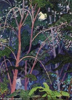 Ferdinand Finne (1910 – 1999): Sommernatt med måne, gouache Scandinavian Art, Ferdinand, Norway, Mystic, Auction, Contemporary, Architecture, Sketchbooks, Gouache