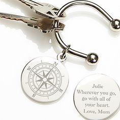 Perfect for graduations, birthday and retirements, the Silver-Plated Compass Inspired Keyring makes a treasured gift for years to come. The round disc features a compass design on one side. You can personalize the reverse with any name or message. Great Graduation Gifts, Grad Gifts, Teacher Gifts, Graduation Ideas, Graduation Jewelry, Graduation Parties, Cool Gifts, Best Gifts, Compass Design