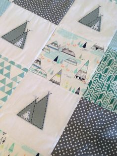 Indian Teepee Baby boy Patchwork Quilt by AlphabetMonkey on Etsy