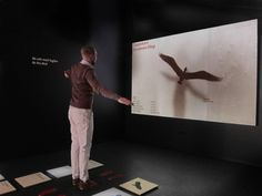 """""""Be the bird"""" - Installation where users retrieve information through full body motion.  The Kinect camera is used for tracking the users in 3D space. That allows them to control the birds with their body and interact in a unique and playful way."""