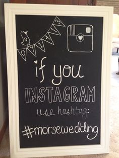 DIY Wedding chalkboard, wedding decoration and wedding hashtag. Cool way to get all sorts of photos. Wedding 2015, Diy Wedding, Rustic Wedding, Dream Wedding, Wedding Day, Hashtag Wedding, Wedding Photos, Instagram Wedding, Instagram Hashtag