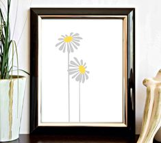 c3488b081aa Grey and Yellow Flower Nursery  Girls Room Wall Art - Floral Printable - Decor Poster - Digital Download