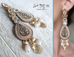 Handmade italian jewerly. Each creation is a unique piece made with top quality materials. ITEM DETAILS: -Colors: brown, beige, gold, blue -Materials: soutache string, beads, Swarovski elements, rhinestone chain, photoceramic lava stone cabochon -Size: 12 cm. -Back: finished with