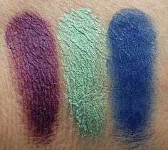 Makeup Geek Gel Liner Swatches : Amethyst, Mystic, and Electric.