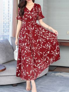 V-Neck Abstract Print Printed Maxi Dress Floral Chiffon Dress, Striped Maxi Dresses, Print Chiffon, Maxi Dress With Sleeves, Short Sleeve Dresses, Dress Silhouette, Online Fashion Stores, Embroidery Dress, Printed