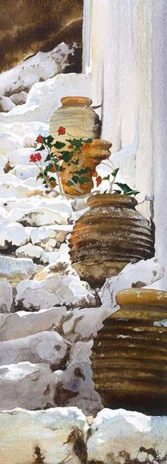whitewashed steps with flowerpots in the sun by Annelies Clarke Watercolor Watercolor Landscape, Watercolour Painting, Watercolor Flowers, Painting & Drawing, Watercolours, Art And Illustration, Oeuvre D'art, Painting Inspiration, Amazing Art