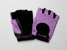 Workout looking like a girl in these feminine, fingerless lavender fitness gloves for weight lifting, spin classes, elipticals, rowing machines, pilates, yoga, wheelchair use, etc