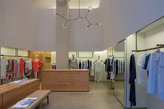 Hanro NY Flagship Store - DHD Architecture and Interior Design - Meatpacking District NYC - Downtown Manhattan - Store Merchandise - Counter - Lindsey Adelman Light - Clothing - Retail Design
