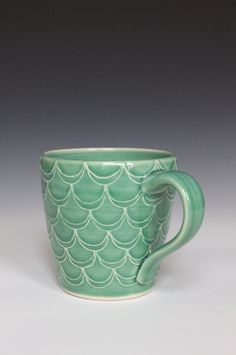 Porcelain Ceramic Mug with Slip Trailed by HeatherEvesMercer