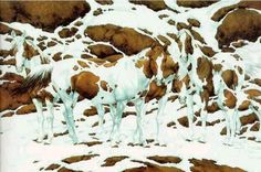 How many horses do YOU see? this is by the artist Bev Doolittle. She's an amazing artist . BTW - it's 5 Illusion Kunst, Illusion Art, Art Optical, Optical Illusions, Funny Illusions, Illusion Photos, Bev Doolittle, Image Of The Day, Snow Scenes