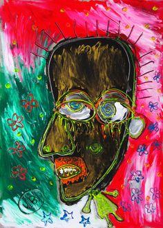 """""""¿Borraste mi nombre?"""" de Victoria Barranco @ VirtualGallery.com - Pintura acrílica en cartón de 50x70 cm (19.7x27.6 in). Arte marginal. Hombre que duda sobre la persistencia de una amistad. (2015)"""