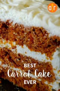 Best Carrot Cake Ever A moist and flavorful recipe that makes a large quantity of cake. I have been hounded to make this cake time and time again. - Best Carrot Cake Ever Best Carrot Cake Ever Recipe, Homemade Carrot Cake, Moist Carrot Cakes, Homemade Cake Recipes, Baking Recipes, Moist Carrot Cake Recipe With Pineapple, Carrot Cake Recipes, Carrot Cake Recipe Allrecipes, Carrot Cake Cheesecake