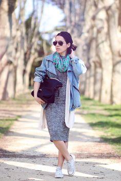 blog mode le petit monde de Julie - Veste jean vintage - Lunettes Rayban -  Foulard 6cb5787d769