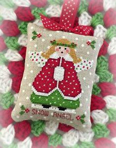 Lil' Miss Snow Angel Christmas Ornament PDF Digital Cross Stitch Pattern