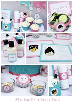 Spa Birthday Party Printable Collection & Invitation - Editable PDF file - Print at home Spa Day Party, Girl Spa Party, Spa Birthday Parties, Pamper Party, 14th Birthday, Sleepover Party, Slumber Parties, Girl Birthday, Diy Party