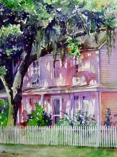 1332 Highland Avenue by Linda Neal Watercolor ~ 13.50 x 9