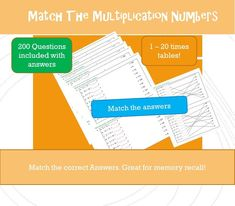 Maths Worksheet Game Printable Multiplication Match up Worksheet times tables worksheets , NinaLaZina Printable Maths Games Times Tables Games, Times Tables Worksheets, Printable Math Games, Printables, Multiplication Facts, Matching Games, Fun Math, Workplace, Education