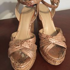 BCBG GENERATION  wedge sandals size 7.5 BCBG Generation snake embossed ankle wedge sandals . Small scarce on the right heel from driving . Beautiful very comfortable BCBGeneration Shoes Wedges