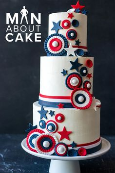 Red white and blue buttercream that's not only patriotic but delectably delicious. See how this patriotic cake is decorated in this week's episode of #ManAboutCake