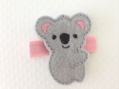 Embroidered Felt Koala on Pink Ribbon Hair by PunkyPunkinCreations, $2.75