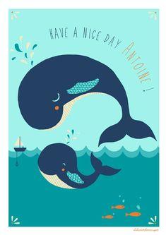 Affiche Baleine Have a good day ! Une affiche pleine de tendresse pour décorer la chambre dun petit enfant. Idéal comme cadeau pour une naissance, un anniversaire, Noël, etc. Possibilité de la personnaliser au prénom de lenfant pourune affiche unique. Il suffit de le préciser par