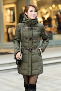 Charming Womens Winter Zip Up Coats Removable Hat Puffer Parka Toggle Jacket   eBay