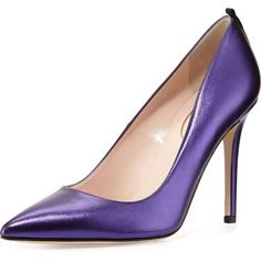 SJP by Sarah Jessica Parker Fawn Metallic Point-Toe Pump (6,210 MXN) ❤ liked on Polyvore featuring shoes, pumps, heels, purple, blue, leather pumps, high heel pumps, blue leather pumps, blue pointed toe pumps and pointed toe high heel pumps