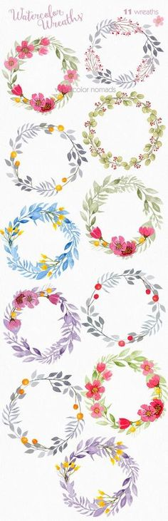 Floral wreath clipart, watercolor clipart, wedding clipart, flower clip art… by therese Watercolor Clipart, Watercolor Flowers, Watercolor Paintings, Drawing Flowers, Painting Flowers, Watercolor Water, Flower Crown Drawing, Painting Art, Watercolor Ideas