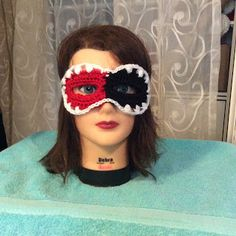 Hook and Yarns by EveryDayWomanCrochet: HDC Harlequin Mask - Free all sizes crochet pattern.