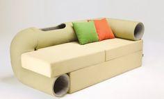 El sofá con tunel para gatos