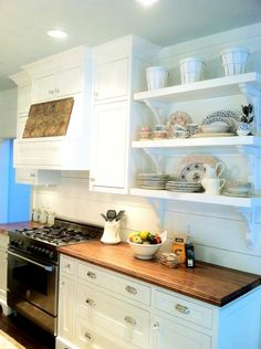 slatted wall, shelves, counter...