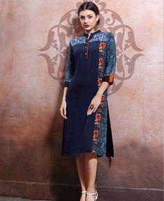 Buy Navy Blue Rayon Cotton Stitched Kurti at Rs. Get latest Tunic & Kurtis for womens at Peachmode. Lehenga Choli, Anarkali, Where To Buy Clothes, Stylish Kurtis, Kurti Patterns, Europe Fashion, Kurta Designs, Indian Designer Wear, Latest Dress
