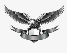 Eagle with banner, Eagle, Hand Painted, Gray PNG Image