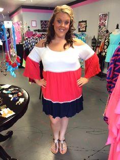 White Coral Navy Cold Shoulder Dress - #blondellamydean #plussizefashion #plussize #curves