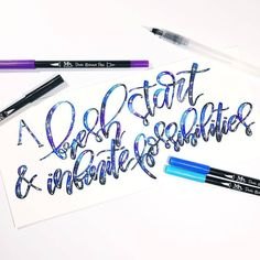 Who agrees? We'd love to hear your 2017 goals! Let's start off the NY with bundles of creativity . Galaxy inspiration from the lovely… Water Brush Pen, Brush Pen Art, Brush Lettering, Hand Lettering, Sewing Tutorials, Art Pictures, Pens, Creativity, Typography