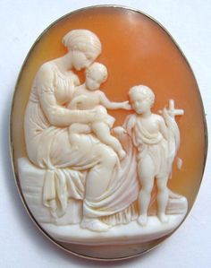 Antique 9k Yellow Gold Carved Shell Cameo Baby Jesus, Mary, and John the Baptist.