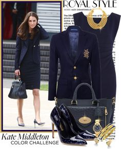 """Navy Blue and Gold..Kate Middleton"" // by shortyluv718 on Polyvore"