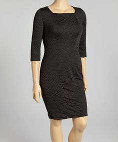 Black Three-Quarter Sleeve Dress - Plus by Yummy #zulily #zulilyfinds