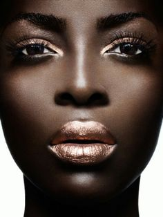 Beautiful colors on dark skin photo shoot makeup