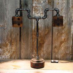 Industrial Table Lamp - Oak & Steel Lamp #26