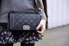 Chanel BOY flap bag silver
