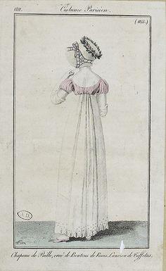 Note the very narrow bodice/dress back. Waists were very short, Empire style, in the Regency era. Regency Dress, Regency Era, French Fashion, Vintage Fashion, Fashion Goth, Steampunk Fashion, Victorian Fashion, Ladies Fashion, Vintage Clothing