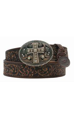 Justin® Women's Vintage Black Tooled Leather w/ Crystal Cross Buckle Western Belt | Cavender's