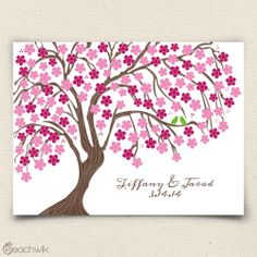 Cherry Blossom Wedding Tree Guest Book Alternative | Peachwik | Wedding Colors: Red, Pink, Fuschia, Brown, White | Canvas