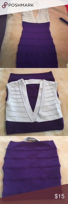 Wow Couture Silver and Purple Body Con Mini Dress No signs of wear...Fits very true to size!... Bundle with the Made2Envy Black Lace Backless dress and get both for $25 WOW couture Dresses Mini