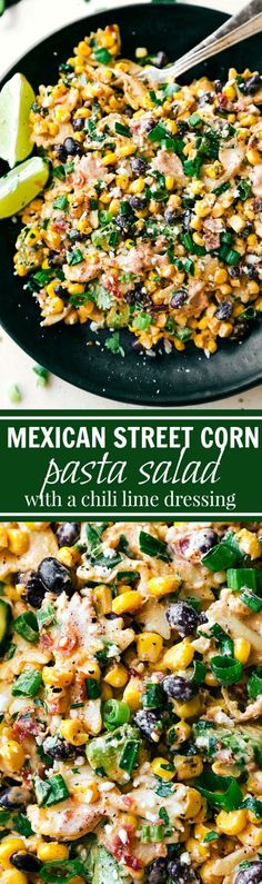 A delicious MEXICAN STREET CORN Pasta salad with tons of veggies, bacon, and a simple creamy CHILI LIME dressing. Recipe via chelseasmessyapron.com Vegetarian Pasta Salad, Pasta Salad With Avocado, Pasta Salad With Chicken, Simple Pasta Salad, Vegetarian Mexican Food, Simple Vegetarian Meals, Warm Pasta Salad, Avocado Cilantro Dressing, Vegetarian Bacon