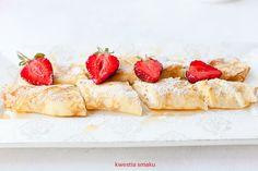 Naleśniki z serem Quick Healthy Meals, Healthy Recipes, Healthy Food, Pancakes, Polish Recipes, Polish Food, Breakfast Bites, Camembert Cheese, Cheesecake