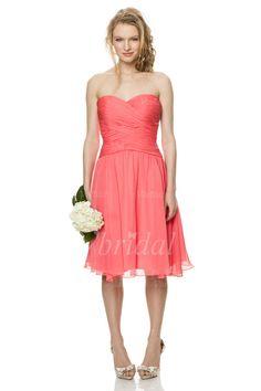 Robes de demoiselle d'honneur - $73.43 - Forme Princesse Sans bretelles Bustier en coeur Au niveau du genou Mousseline Robe de demoiselle d'honneur avec Plissé (00705006388)