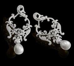 Diamond & South Sea Pearl Earring :: Farah Khan Fine Jewellery