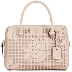 kate spade new york Cameron Street Perforated Lane Large Satchel ($298) ❤ liked on Polyvore featuring bags, handbags, dolce, satchel handbags, leather satchel purse, leather handbags, pink leather handbags and pink handbags
